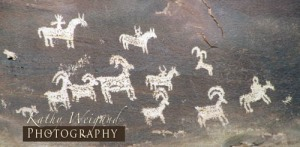 Indian Rock Art with Horses, Moab Utah